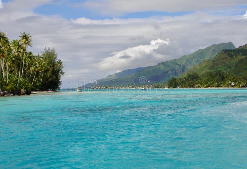 Idyllic beach located in Tahiti. Seascape in Morea, French Polynesia royalty free stock photography