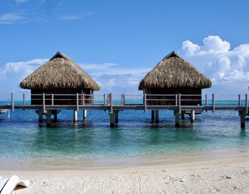 Idyllic beach located in Tahiti. Seascape in Morea, French Polynesia stock images
