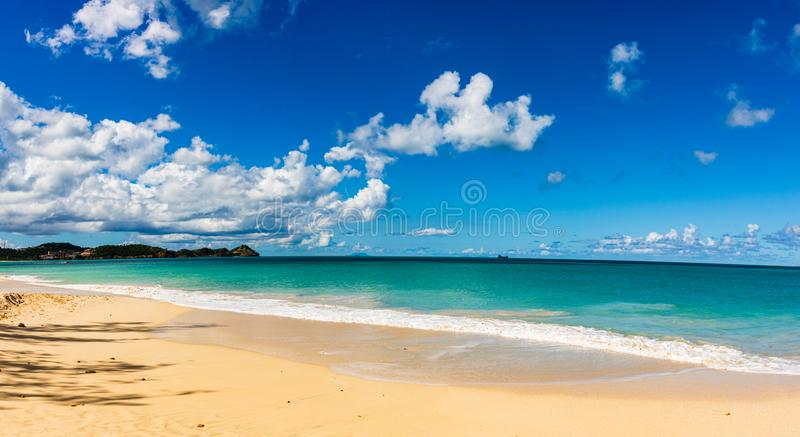 Idyllic beach in St. John`s, Antigua and Barbuda, a country located in the West Indies in the Caribbean Sea stock photo