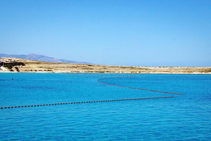 Idyllic blue lagoon landscape in Aegean Sea. stock photo