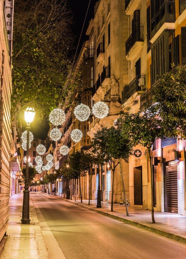 Idyllic Christmas lights at street in Palma de Majorca city center stock image