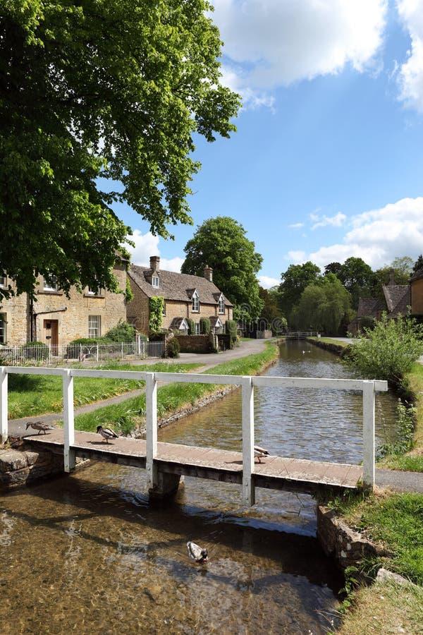 Idyllic Cotswolds village of Lower Slaughter. View of Lower Slaughter in the Cotswolds, Gloucestershire,England stock photo