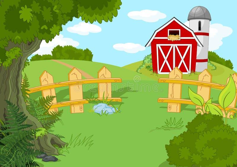 Idyllic farm landscape vector illustration