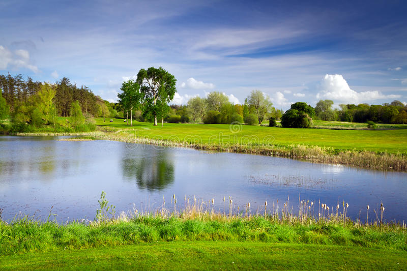 Download Idyllic Golf Course At The Pond Stock Image - Image: 24780941