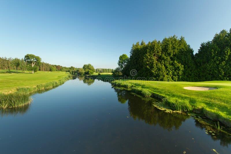 Idyllic golf course scenery stock image