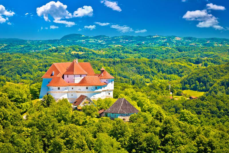 Idyllic green landscape of Zagorje region with Veliki Tabor cast stock image