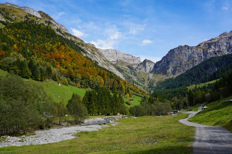 Idyllic green valley in front of klausenpass royalty free stock images