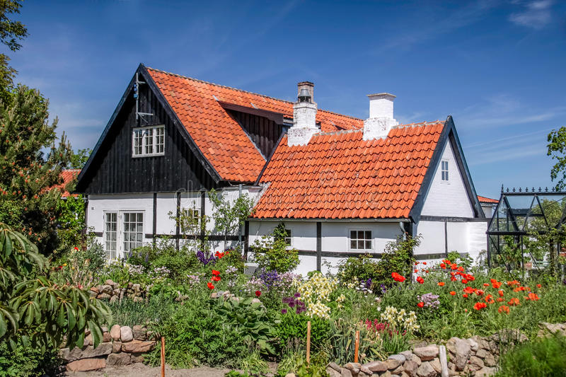 Idyllic half-timbered house on Bornholm stock image