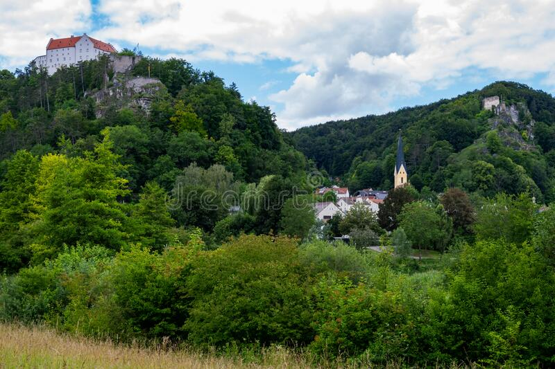 Idyllic landscape in the Almuehltal valley stock image