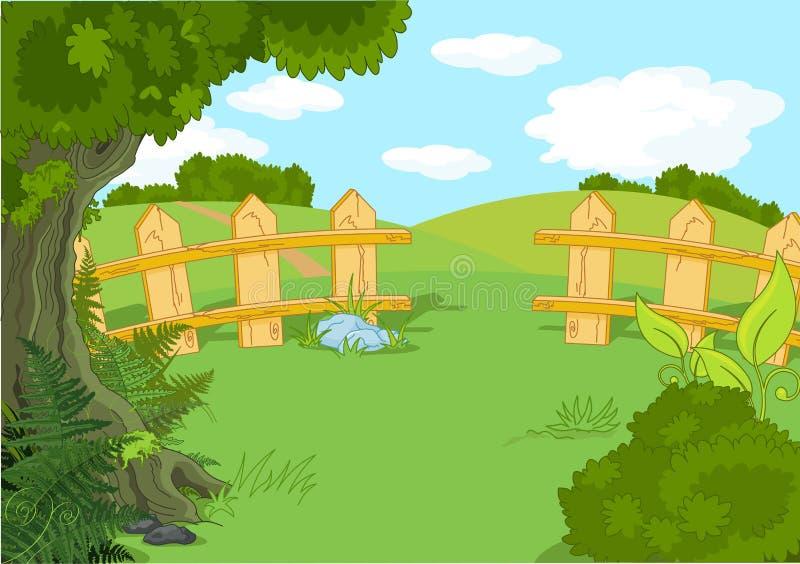 Idyllic landscape vector illustration