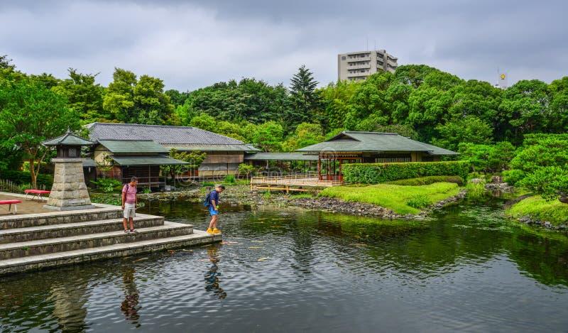Idyllic landscape of Japanese garden royalty free stock photos