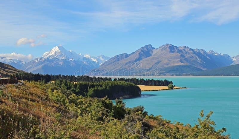 Idyllic landscape with Mt Cook. Aoraki / Mt Cook National Park, New Zealand stock photo