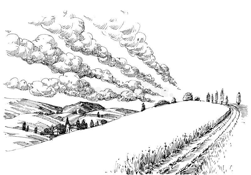 Idyllic landscape sketch royalty free illustration
