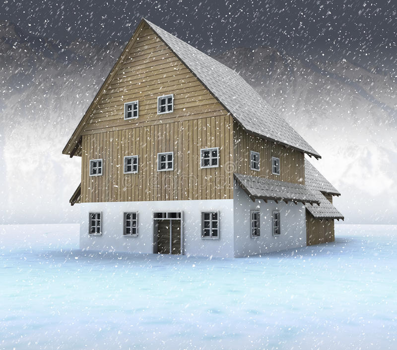 Idyllic Mountain Cottage At Night Snowfall Stock Photo