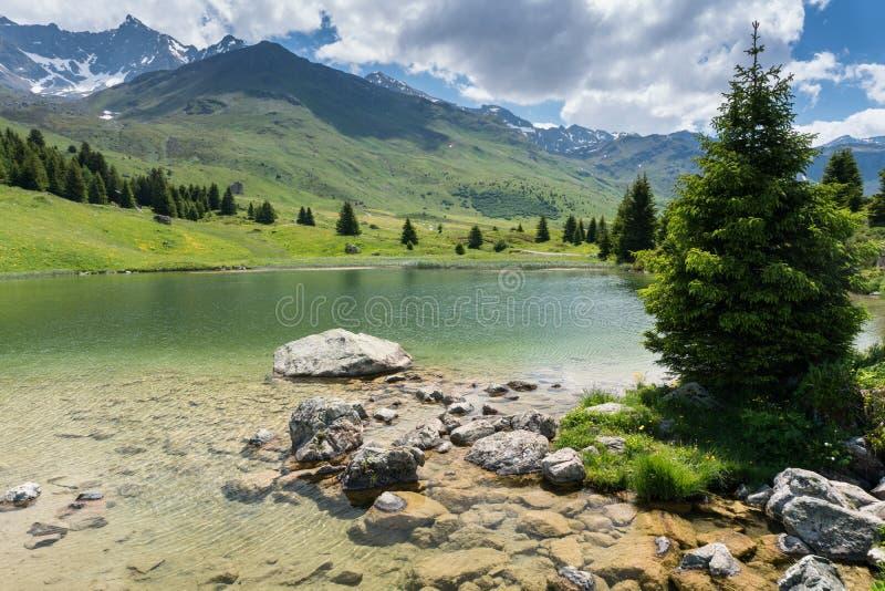 Idyllic mountain lake landscape in the Swiss Alps. An idyllic mountain lake landscape in the Swiss Alps royalty free stock image