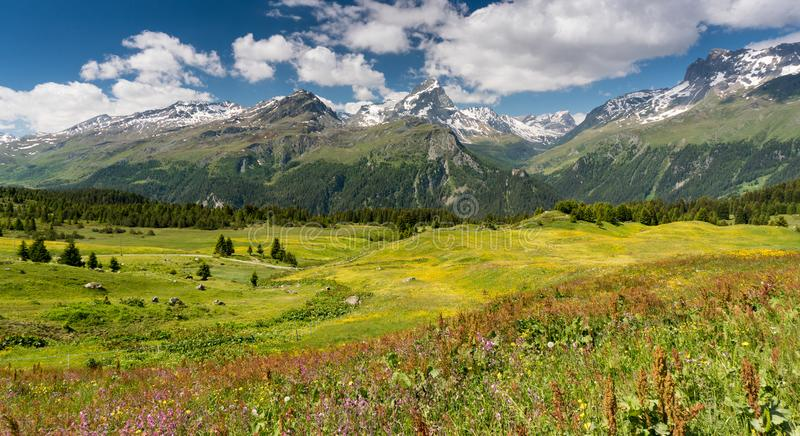 Idyllic mountain landscape in the summertime. An idyllic mountain landscape in the summertime royalty free stock photo