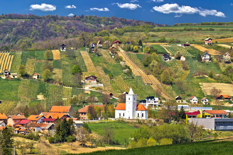 Idyllic nature of Prigorje region. Village Visoko on Kalnik mountain hill, with traditional winemaking cottages royalty free stock images