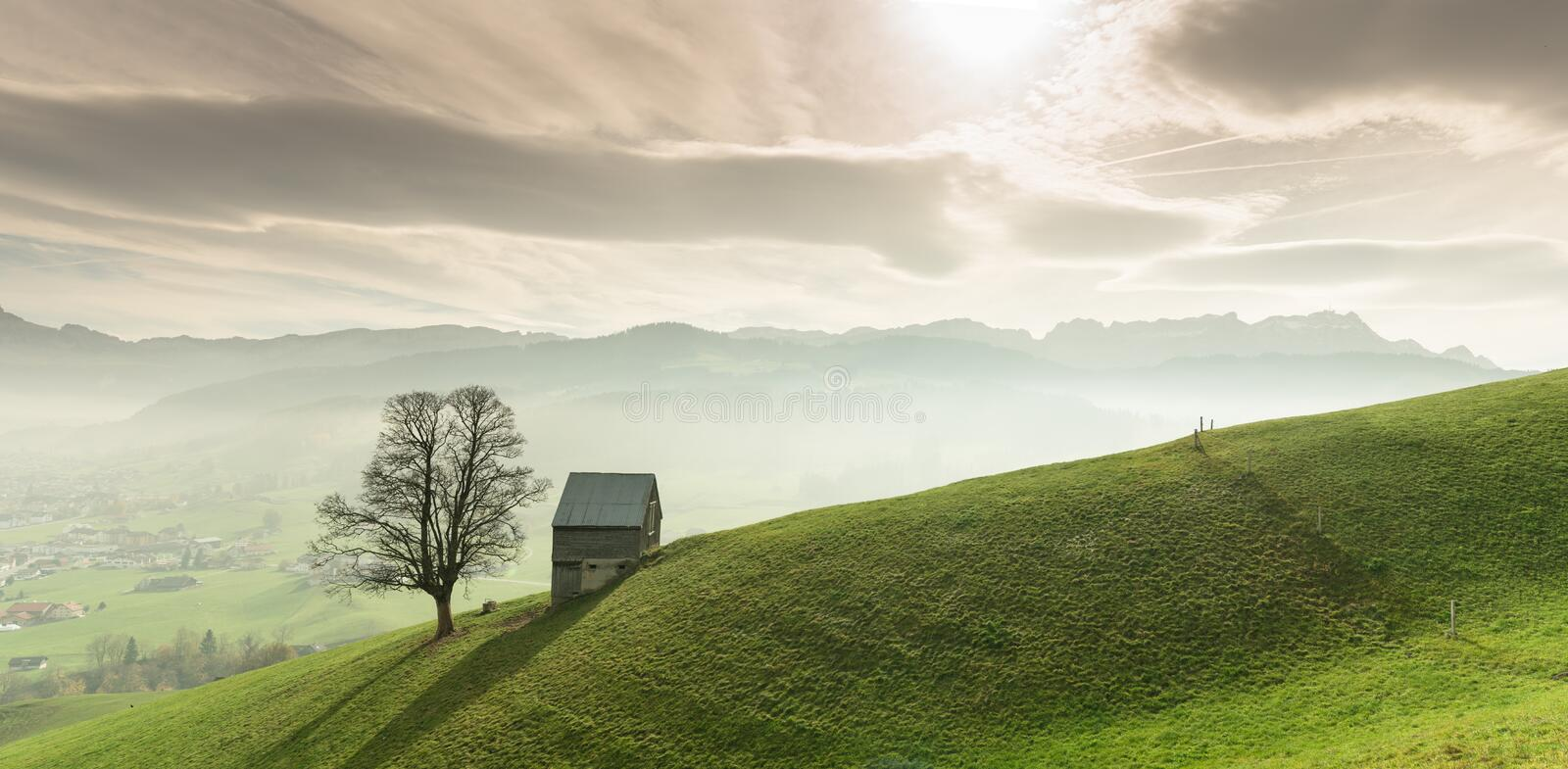 Idyllic and peaceful mountain landscape with a secluded wooden barn and lone tree on a grassy hillside and a great view of the Swi stock image