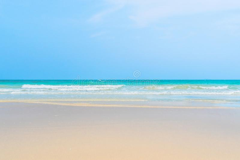 Idyllic perfect tropical white sandy beach and turquoise clear ocean water. Summer vacation natural background with blue sunny sky stock images