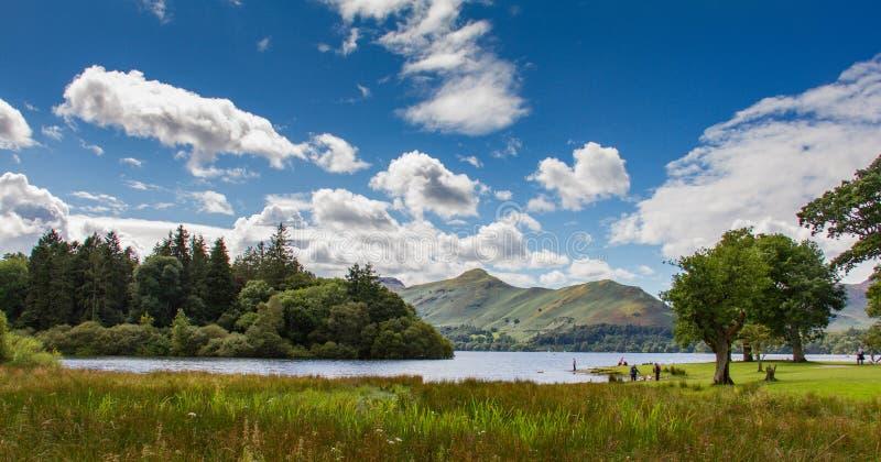 Idyllic scene of Lake Derwent Water, Lake District, Cumbria, UK royalty free stock images