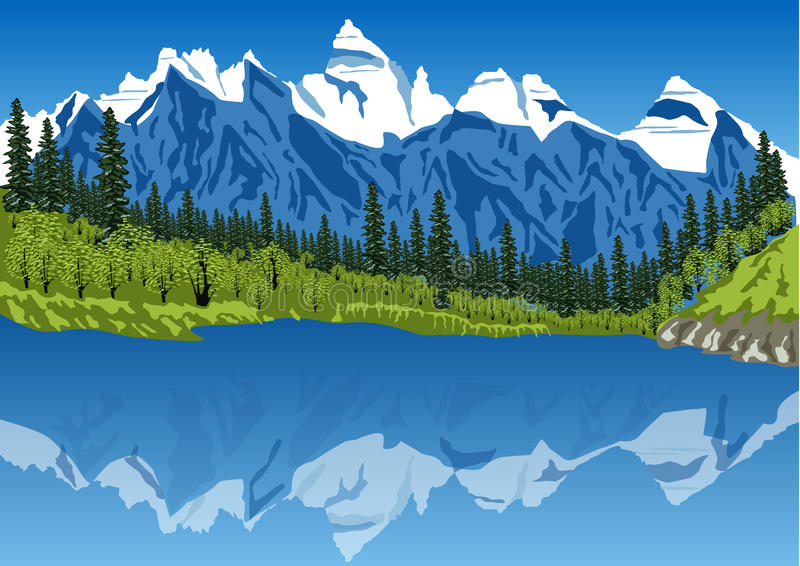 Idyllic summer landscape in the Alps with clear mountain lake royalty free illustration