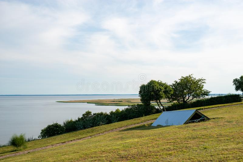 Idyllic summer landscape with clear lake in Poland stock images