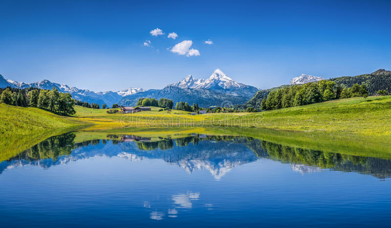 Idyllic summer landscape with clear mountain lake in the Alps. Panoramic view of idyllic summer landscape in the Alps with clear mountain lake and fresh green royalty free stock photos