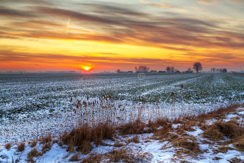Download Idyllic Sunset Over Snowy Meadow Stock Image - Image: 23853813