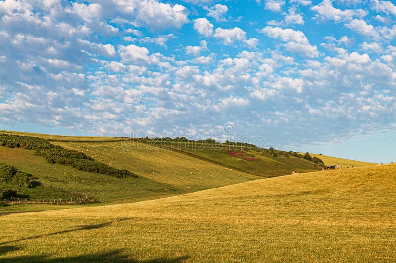 An Idyllic Sussex Landscape. Rolling hills in the Sussex countryside on a sunny summers morning stock photography