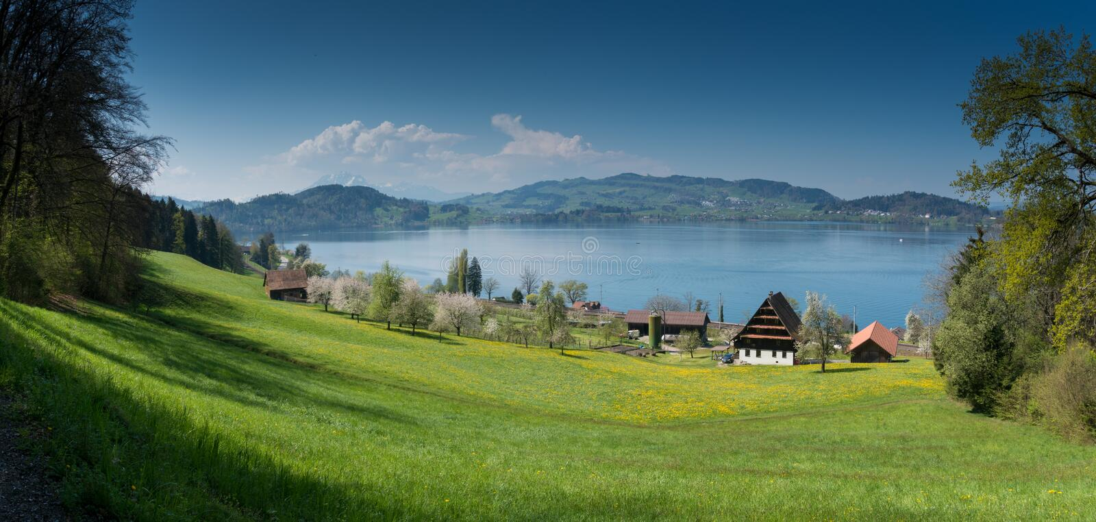 Idyllic Swiss country mountain landscape with farms lake and mountains in the distance. View of picturesque Swiss mountain and lake landscape at the Zugersee royalty free stock images