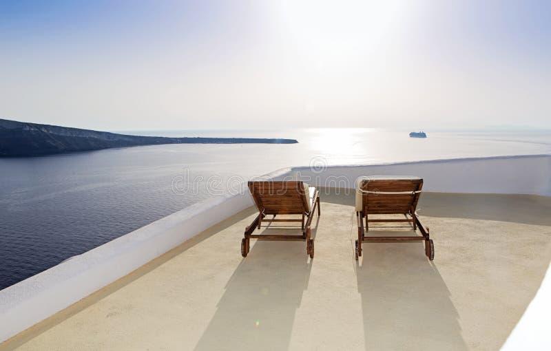 Idyllic terrace in Oia, Santorini island stock photos