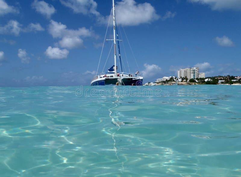 Idyllic tropical beach at the Caribbean stock photo
