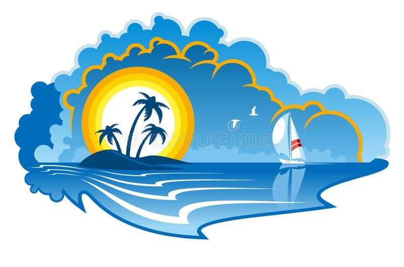 Tropical Island Cartoon: Idyllic Tropical Island With A Yacht Stock Vector