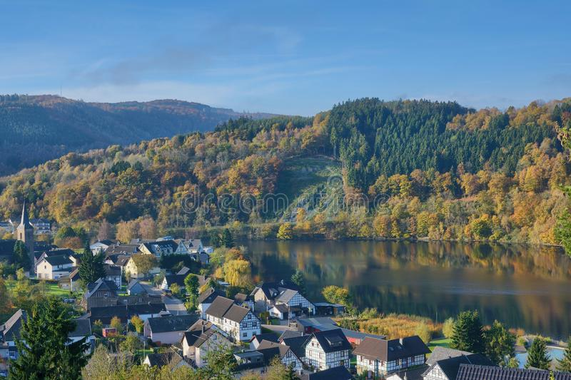 Einruhr,Eifel National Park,Germany. Idyllic Village of Einruhr at Rursee Reservoir in Eifel National Park,North Rhine westphalia,Germany stock photos