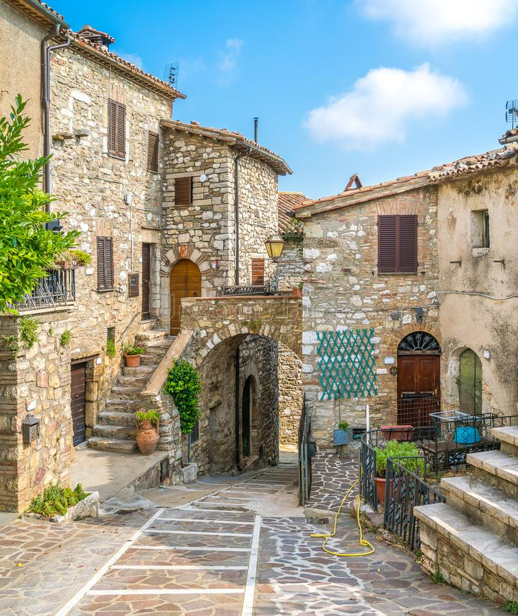 The idyllic village of Melezzole, near Montecchio, in the province of Terni. Umbria, Italy. An idyllic view in the village of Melezzole, near Montecchio and royalty free stock photos