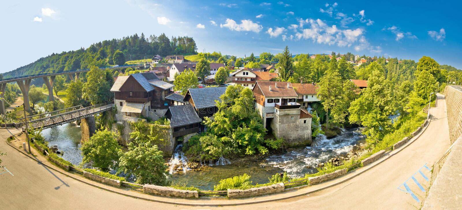 Idyllic village of Rastoke on Korana river royalty free stock photos