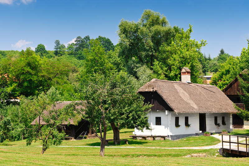 Idyllic village scene in Croatia. N countryside - Kumrovec royalty free stock images