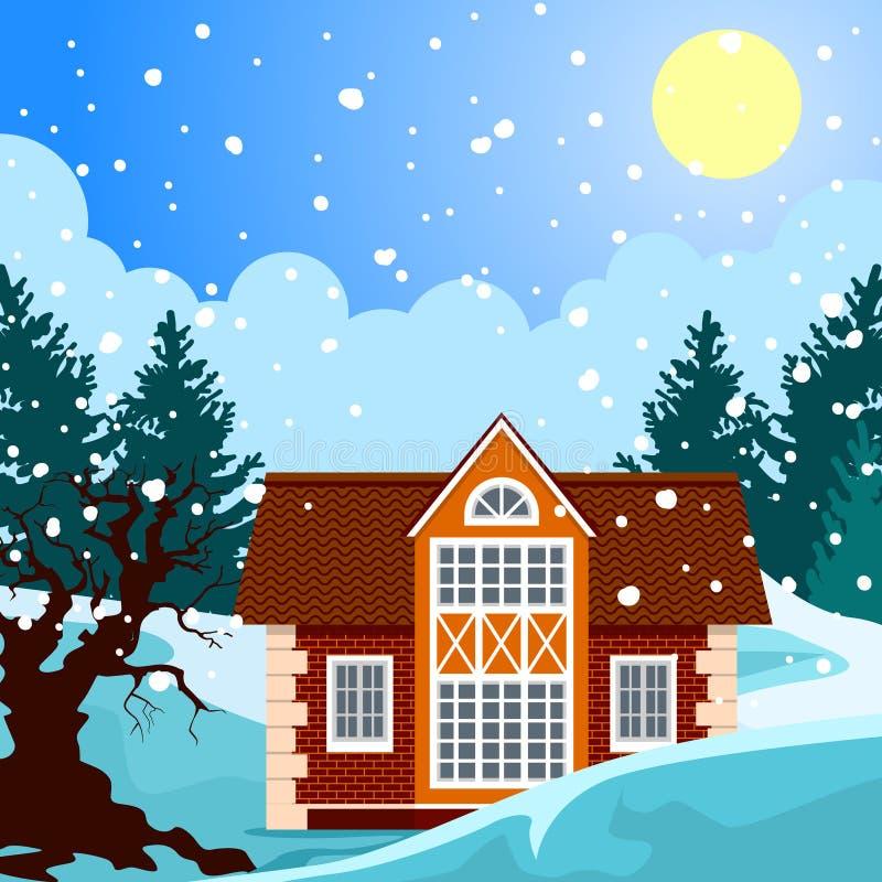 Idyllic winter landscape royalty free illustration