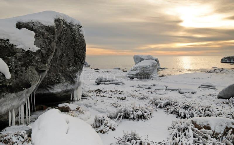 Idyllic winter sea landscape stock photos