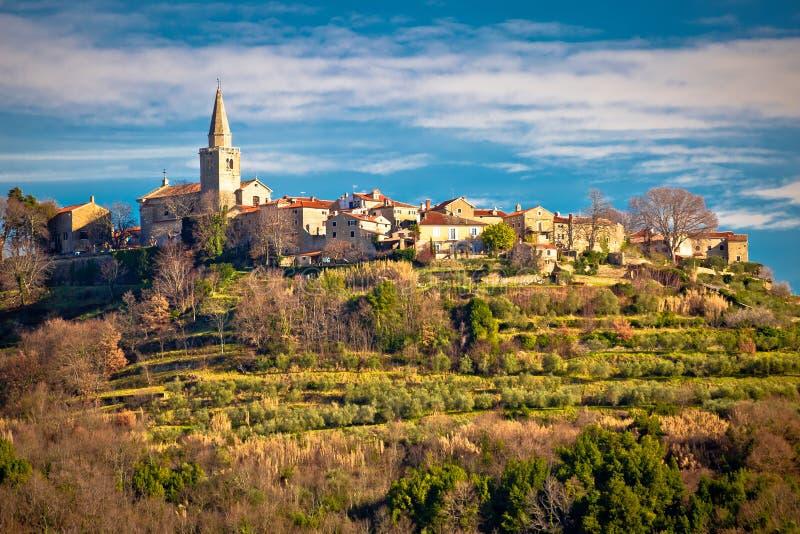 Idylliczna wzgórze wioska Groznjan widok obrazy stock