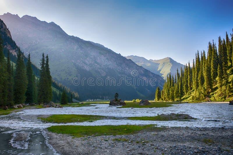 Idylliczny lato krajobraz z wycieczkować ślad w górach z pięknymi świeżymi zielonymi halnymi paśnikami, rzeką i lasem, zdjęcia royalty free