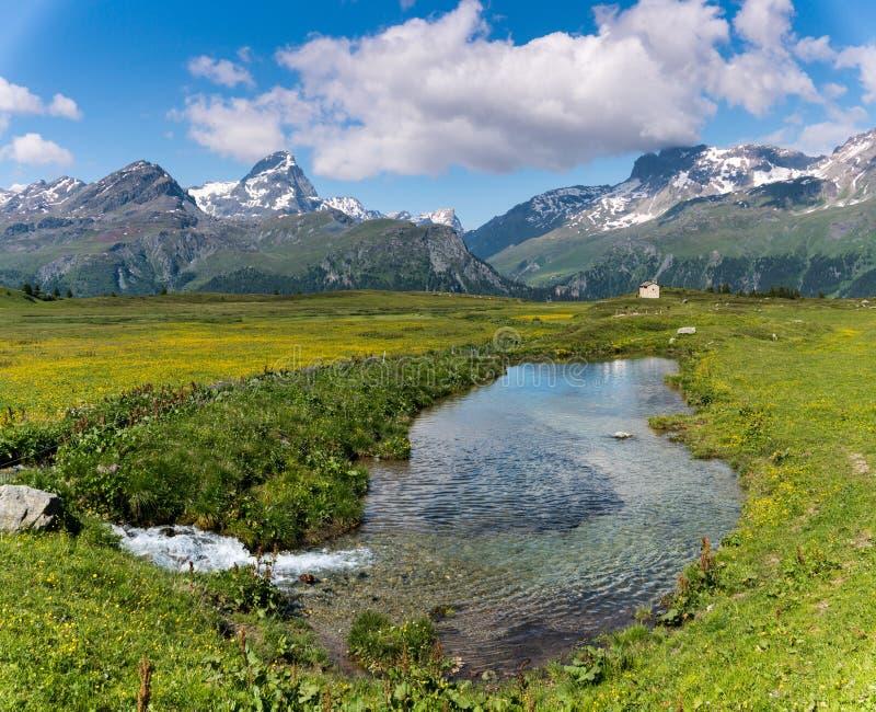 Idyllisch berglandschap in de zomer met een kreek en kleine vijver in de voorgrond royalty-vrije stock afbeelding