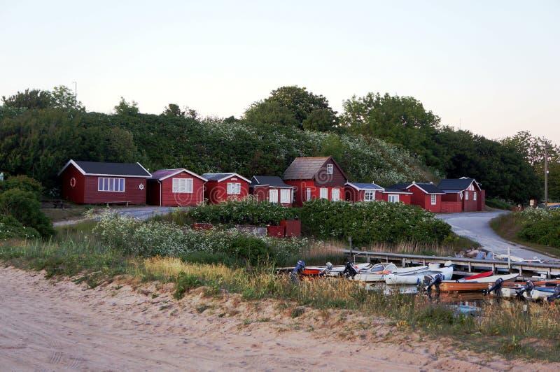 Idyllisch charmant klein visserijdorp Boderne, Bornholms, Denemarken stock afbeeldingen