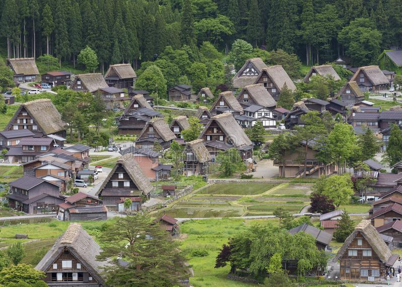 Idyllisch landelijk landschap van Japan stock foto's
