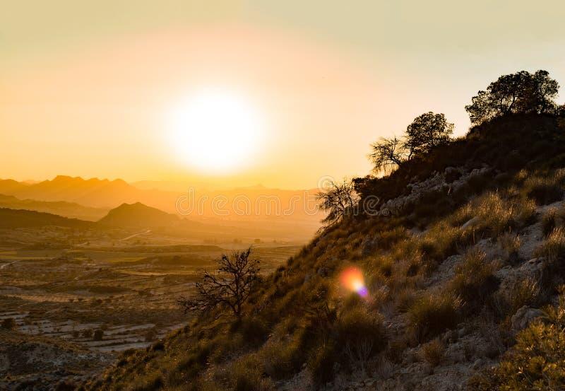 Idyllisch landschap van een bos tegen zonsondergang over mistige bergen royalty-vrije stock foto
