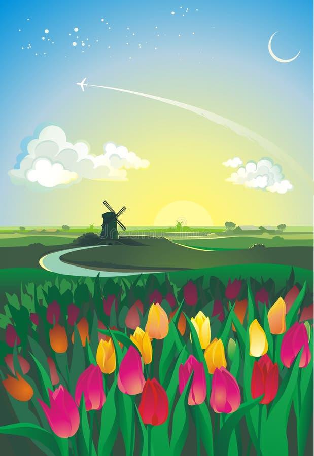 Idyllisch Nederlands landschap royalty-vrije illustratie