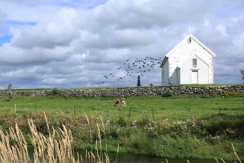 Idyllisch platteland in Noorwegen royalty-vrije stock foto's