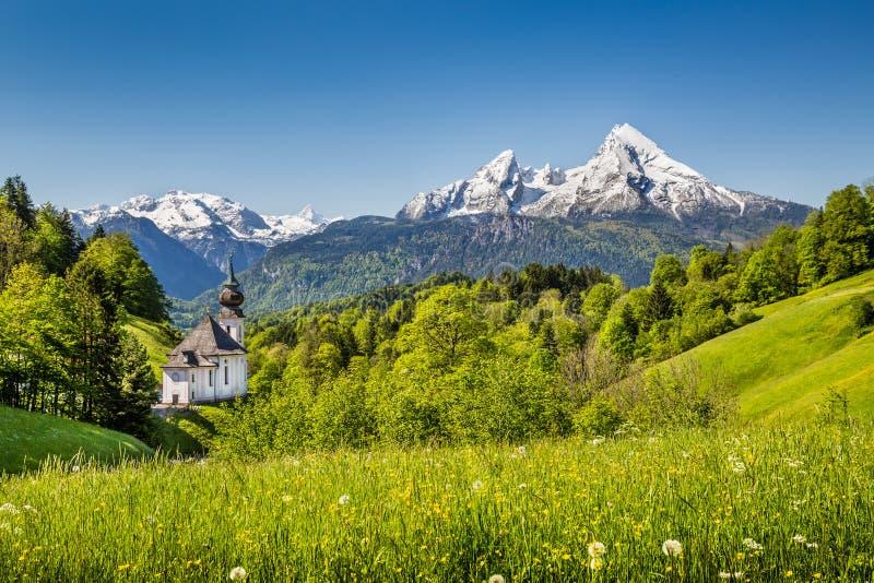 Idyllische Berglandschaft in den bayerischen Alpen, Berchtesgadener-Land, Deutschland lizenzfreie stockfotografie
