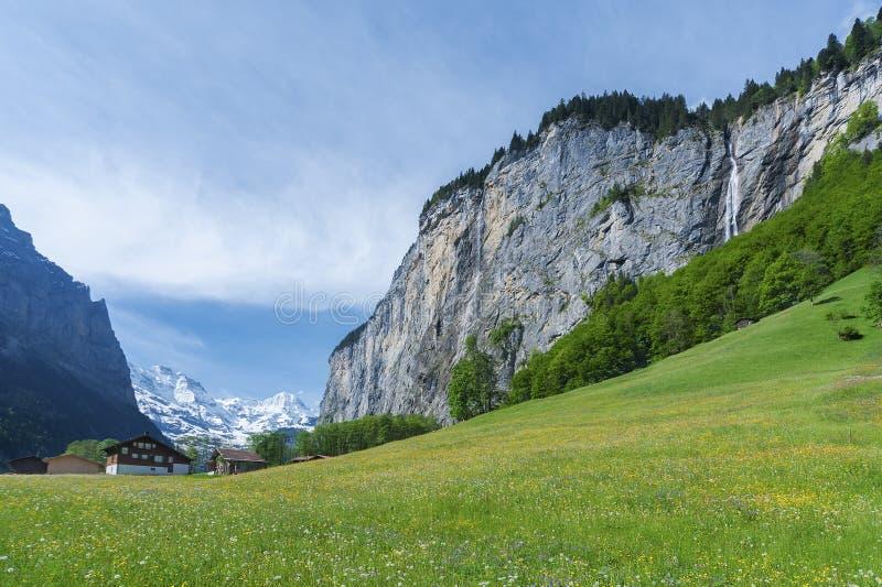 Idyllische Landschaft des Schweizers stockbild
