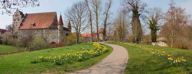Idyllische oude stad van dinkelsbü hl bij de lente royalty-vrije stock fotografie